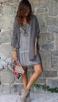 Grey Boho Shift Mini Dress