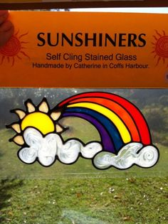 Rainbow Suncatcher window sticker/decal stained by sunshinersnsw Window Stickers, Suncatchers, Stained Glass, Decal, Rainbow, Handmade Gifts, Etsy, Rain Bow, Kid Craft Gifts