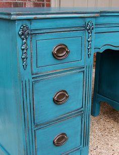 Peacock Blue Vanity Desk - Facelift Furniture