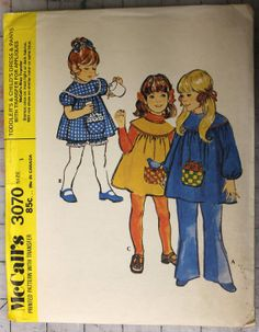 Vintage McCall's 3070 1971 Pattern Toddlers Dress by sugarkitty, $6.50