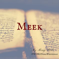 Word Nerd Wednesday – Meek – I'm thrilled to welcome my friend Melissa King back for this week's Word Nerd Wednesday's word, meek. In case you hadn't noticed, we are working our way through the Beatitudes. ********* Definitions of Meek: Merriam-Webster 1828 MEEK, adjective [Latin mucus; Eng. mucilage; Heb. to melt.] 1. Mild of temper; soft; gentle; not easily provoked or irritated;...