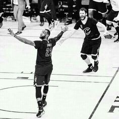 LeBron James With Kevin Love ... Last Seconds Of Game 7 ...