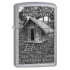 Zippo Lighter: Vietnam War, Battle of Khe Sanh - Linen Weave