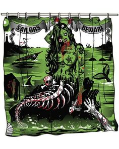 Too Fast Shower Curtain undead mermaid Pinup Lady Punk Sailors Beware