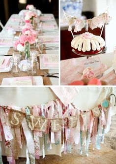 Those mini bundt cakes are the cutest touches! | Shabby Chic Baby Shower Theme via Kara's Party Ideas