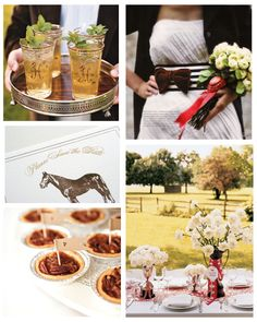 Kentucky Derby Inspiration. Mint juleps, horse invites, mini pecan pies, trophy centerpieces.