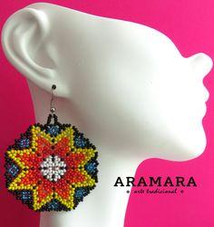 Boucles doreilles Mexique Huichol perlé Gree et Orange par Aramara