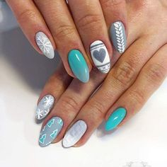 Mint&grey #mint #grey #nailart #nails #paznokcie #winternails #winter