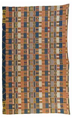 Africa | Wrapper from the Ewe people of Ghana | ca. 1930 | Cotton; woven in twenty-two strips, with strongly coloured abstract designs