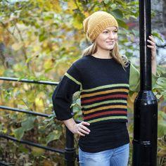 Criagenser - fargerik genser med 3/4 lange ermer, strikket i Basic fra www.cria.no Design: Randi Ballangrud Fotograf: Jeanett Økland www.cria.no
