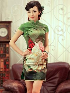 Green Short Silk Qipao / Cheongsam / Chinese Dress
