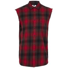 Men's Topman Sleeveless Plaid Shirt ($25) ❤ liked on Polyvore featuring men's fashion, men's clothing, men's shirts, men's casual shirts, mens tartan shirt, mens sleeveless plaid shirt, mens double layer t shirt and mens checkered shirts