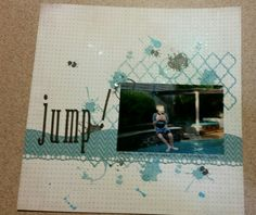 Pool scrapbook page. I tried to get the chaoric splash and fun of a backyard pool in this layout. Mosaic stamp by ScrapFX Paper by Authentique and Basic Grey. Splash and ink blot stamps by Kaisercraft Spritzed Ink is Kaiser Mists. It has a lobely shimmer to it.