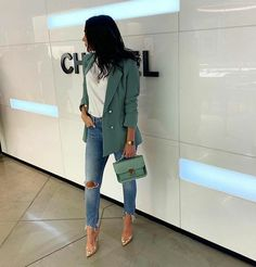 Beautiful outfit idea to copy ♥ For more inspiration join our group Amazing Things ♥ You might also like these related products: - Jeans ->. Blazer Outfits Casual, Business Casual Outfits, Blazer Fashion, Classy Outfits, Stylish Outfits, Fall Outfits, Fashion Outfits, Fashion Clothes, Dress Casual