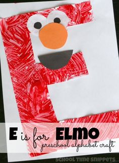Letter E Elmo Craft is part of Preschool crafts Alphabet - Teach your toddler or preschooler the ABC's by crafting a letter each week! Make this fun Elmo Craft for the Letter E Letter E Craft, Preschool Letter Crafts, Alphabet Letter Crafts, Abc Crafts, Preschool Projects, Daycare Crafts, Preschool Lessons, Classroom Crafts, Toddler Crafts