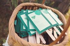 Home made wedding programs that doubled as fans...perfect for our summer garden wedding