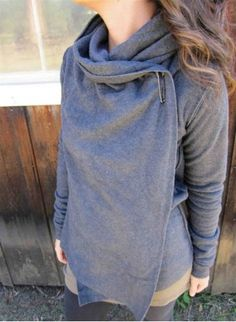 Stylish Hooded Long Sleeve Solid Color Draped Women's Cardigan Sweaters & Cardigans | RoseGal.com Mobile
