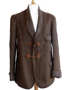 rare early 20th century men's woolen smoking jacket