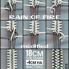 Best 12 Regrann from - Rain of fire modified/Огненный дождь модификация. Paracord Bracelet Designs, Paracord Belt, Bracelet Crafts, Paracord Bracelets, Paracord Tutorial, Bracelet Tutorial, Paracord Weaves, Paracord Braids, Parachute Cord Crafts