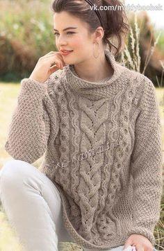 El pulóver de color beige oversayzu000du000a#вязание #спицами