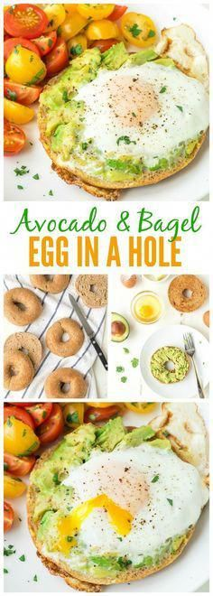 Egg in a Hole, cooked inside a bagel with smashed avocado on top. Our family's favorite breakfast, and it's perfect for easy, healthy lunches and dinners too! Use a whole wheat bagel to make it clean eating friendly. Healthy Breakfast Recipes, Healthy Lunches, Vegetarian Recipes, Healthy Eating, Healthy Recipes, Healthy Bagel, Healthy Breakfasts, Healthy Food, Lunch Recipes