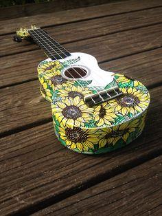 Cedar and Sycamore hand-painted ukulele - Sunflowers. cedarandsycamore.etsy.com