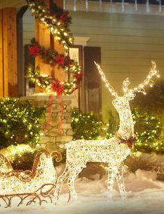 lighted reindeer outdoor christmas decor outdoor christmas decorations decorating with christmas lights outdoor - Outside Christmas Decorations