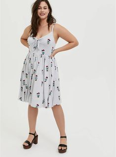 Her Universe Disney Retro Minnie Mouse Bow Front Grey Stripe Dress Floral Chiffon Maxi Dress, Minnie Mouse Bow, Black Tie Dye, Grey Stripes, Swing Dress, Striped Dress, Plus Size Dresses, Sheath Dress, Cold Shoulder Dress
