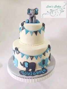 Elephant themed baby shower cake for boy