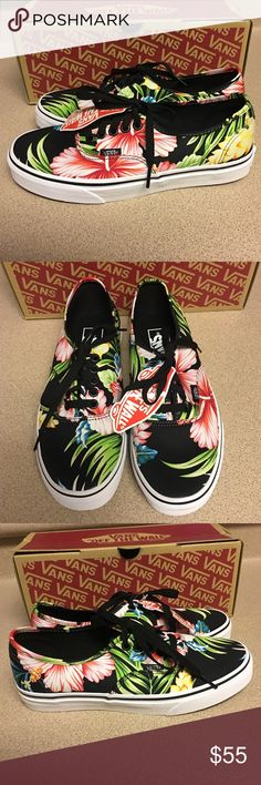 5c7527de36c1d0 Vans Authentic Hawaiian Floral Men s 6.5 Women s 8 New Vans Authentic  Hawaiian Floral Black Canvas Men s