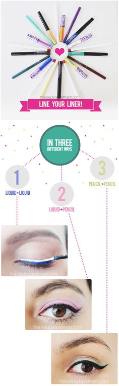 Line the lash line with the liquid liner in 3 different ways~  thebeautydepartment.com line your liner