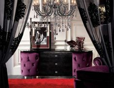 Angela Armani Purple Fabric Buffet - Look, the sideboard is even fluffy! Modern Bedroom, Bedroom Decor, Contemporary Bedroom, Bedroom Colors, Deco Baroque, Black Sideboard, Modern Flooring, White Chandelier, Black Curtains