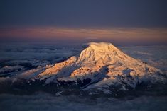 Mt Rainier at sunset.