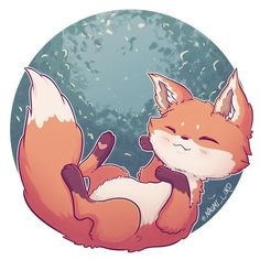 An or inch print of my Kawaii Fox art. -Stickers are hand cut, and are printed on premium gloss paper. (The image can fit as a square or so if youd like it that size please note that at purchase) All domestic orders are Cute Animal Drawings, Kawaii Drawings, Cute Drawings, Cute Fox Drawing, Chibi Drawing, Chibi Sketch, Kawaii Chibi, Cute Chibi, Cute Kawaii Animals