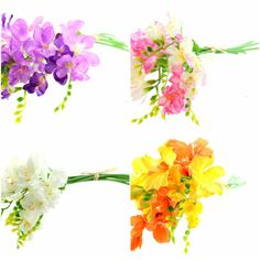 Artificial Flowers Freesias Bouquet 13 1/2 by lallehandmade
