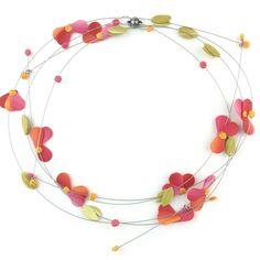 jewelry — j. Jewelry Art, Beaded Jewelry, Jewelry Design, Beaded Necklace, Jewellery, Stainless Steel Wire, Handmade Necklaces, Pink Flowers, Polymer Clay