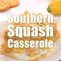 Southern Squash Casserole features yellow squash, cheese, and sour cream topped with buttery crackers and baked for a delicious, comforting side dish! Easy Squash Casserole, Southern Squash Casserole, Yellow Squash Casserole, Vegetable Casserole, Vegetable Dishes, Vegetable Recipes, Casserole Recipes, Squash Caserole, Baked Squash Recipes