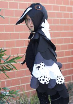Magpie bird cape Etsy listing at https://www.etsy.com/listing/181449763/magpie-bird-cape-kids-costume-fancy