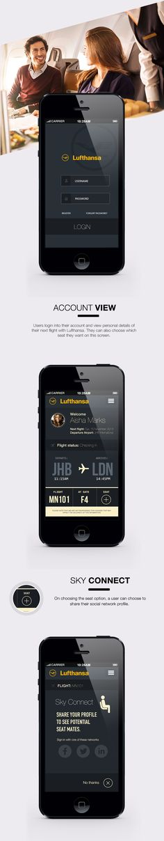 Lufthansa - Sky Connect IOS7 app by Calvin Pedzai, via Behance