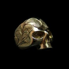 Brass Ring Baroque Carved Brass Skull ring HTJ61