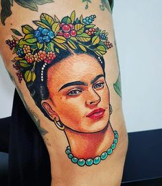 A big fat THANK YOU to @nastiazlotin for my beautiful Frida ❤️ #nastiazlotin#ladytattooers#berlintattoo#fridakahlo#portrait#thightattoo#vivamexico#feminist#colourtattoo#neotraditional#beautiful#fridakahlotattoo Frida Tattoo, Frida Kahlo Tattoos, M Tattoos, Body Art Tattoos, Sleeve Tattoos, Tattoo Fixes, Mexican Tattoo, Feminist Tattoo, Tattoo Project