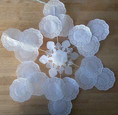 Dollar Store Crafts » Blog Archive Make a Large Snowflake Decoration out of Doilies » Dollar Store Crafts