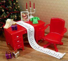 Super Sweet from Mini Memories - Renwal SANTA DESK & SWIVEL CHAIR Vintage Dollhouse Furniture 1:16 Ideal Marx Tin #Renwal  #minithings4you