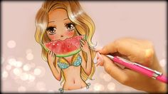 How to Draw a Summer Girl Eating Watermelon!