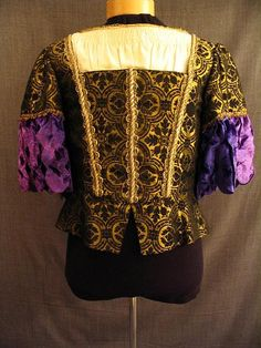 Men's doublet, gold black brocade, blue velvet, white cotton.
