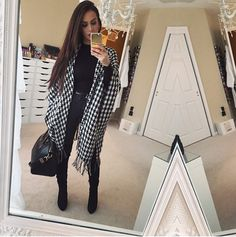 Carli Bybel Winter Fashion Houndstooth All Black
