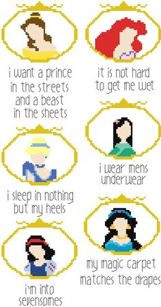 Naughty Confessions of the Disney Princesses Cross Stitch by RagingStitches Bad Princess, Modern Princess, Naughty Disney Princesses, Disney Gone Bad, Cross Stitching, Cross Stitch Embroidery, Naughty Cross Stitch, Snitches Get Stitches, Subversive Cross Stitches