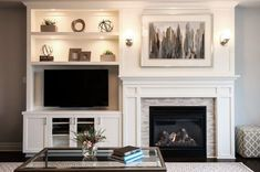 A built-in shelving unit creates balance with an off-center fireplace.