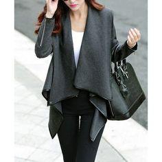 Elegant Women's Turn-Down Collar Long Sleeve Ruffled Coat blue gray http://www.irockbags.com/elegant-womens-turndown-collar-long-sleeve-ruffled-coat-blue-gray