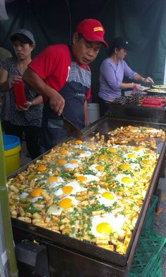 Rice cake, egg and spring onion. At Dandenong  market ( food and wine festival)